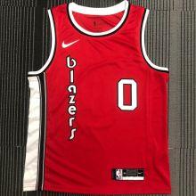 Trail Blazers LILLARD #0 Red NBA Jerseys Hot Pressed
