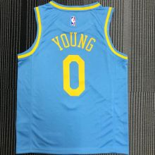 Minneapolis Lakers YOUNG #0 Blue NBA Jerseys Hot Pressed