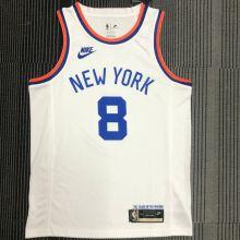 NY Knicks WALKER # 8 White 75 Years NBA Jerseys Hot Pressed