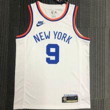 NY Knicks BARRETT # 9 White 75 Years NBA Jerseys Hot Pressed