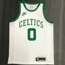 Celtics TATUM #0 White 75 Years NBA Jerseys Hot Pressed