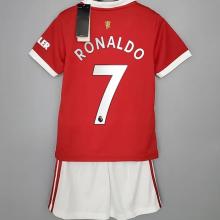 RONALDO #7 M Utd Home Kids Jersey 2021/22(League Font)