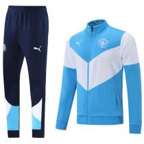 2021/22 Man City Blue And White Jacket Tracksuit