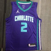 2022 Hornets Jordan BALL #2 Purple NBA Jerseys Hot Pressed