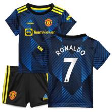 RONALDO #7 M Utd Third Kids Jersey 2021/22(League Font)