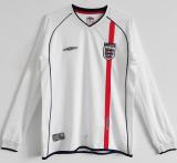 2002 England Home White Retro Long Sleeve Soccer Jersey