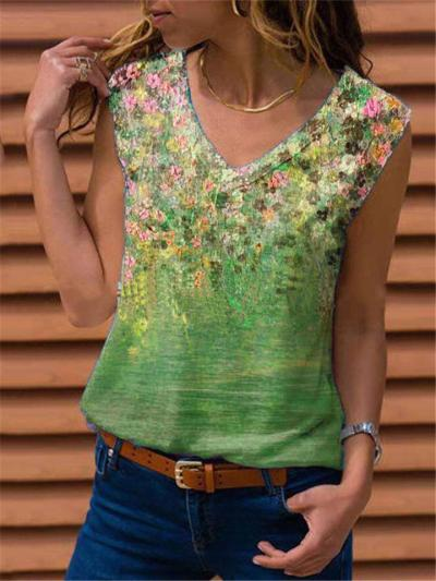 Casual Fit Trendy V Neck Sleeveless Floral Printed Tank Tops