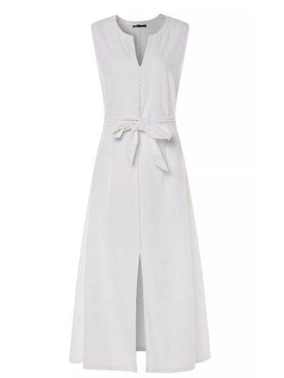 Casual Notched V Neck Sleeveless Front Slit Midi Cotton Linen Dress