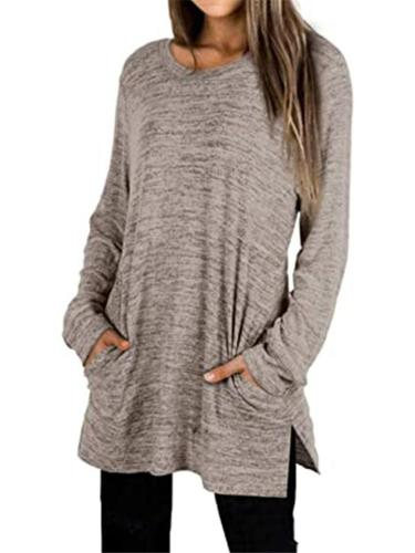 Loose Fit Round Neck Solid Color Side Slit Pocket Pullover Sweatshirt