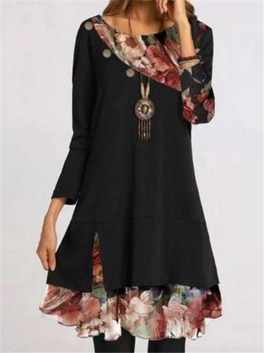 Casual Style Round Neck Floral Printed Long Sleeve Chiffon Mini Dress