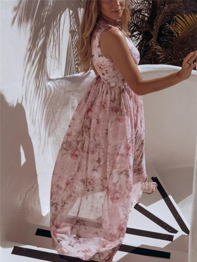 Pretty Sexy Wrap V Neck Fitted Waist Thigh High Slit Floral Chiffon Dress