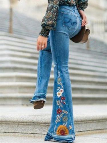 Slim Fit Floral Embroidery Bell Bottom Denim Pants