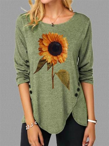 Asymmetric Hem Round Neck Sunflower Long Sleeve Pullover Tops