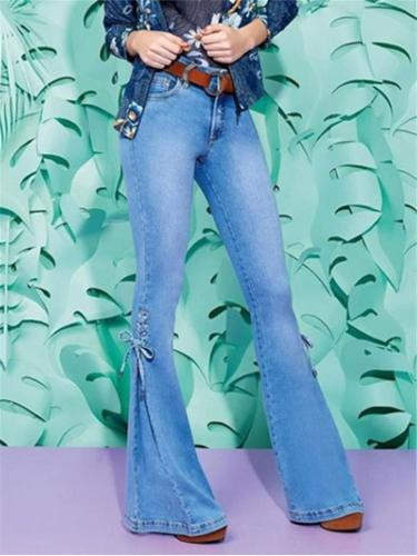 Women's Mid-rise Lace-up Stretch Jeans
