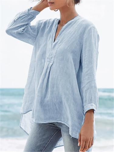 Casual Style V Neck Long Sleeve Lightweight High-Low Pullover Tops