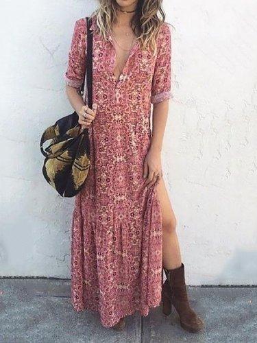 Shift Floral Printed Long Sleeve Holiday Maxi Dress