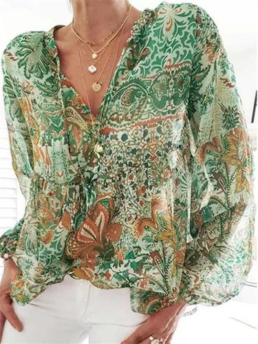 Bohemian Style Front Tie Up Floral Long Sleeve Lightweight Pullover Tops