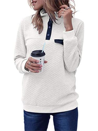 Women Stylish Turtleneck Patchwork Padded Buttons Long Sleeves Sweatshirt