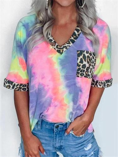 High-Quality V Neck Tie-Dye Leopard Pattern Chest Pocket T-Shirt