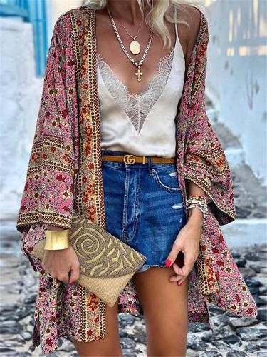 Bohemian Style Floral Pattern Loose Fit Long Sleeve Open Front Cardigan