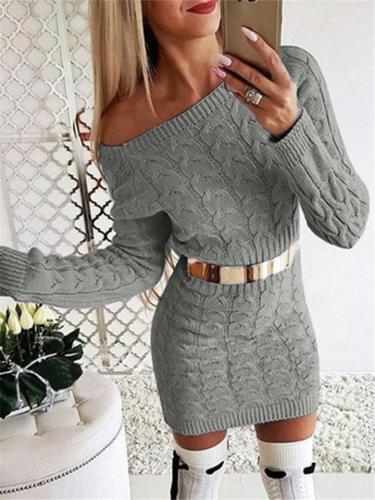 Slim Fit Long Sleeve Solid Color Cable Knit Sweater Midi Dress