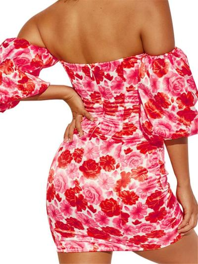 Sexy Floral Sweetheart Off Shoulder Balloon Sleeve Bodycon Mini Dress