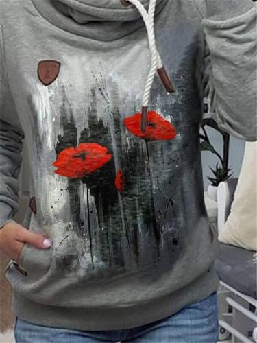 Ultra Cozy Floral Pattern Long Sleeve Pocket Drawstring Hooded Sweatshirt