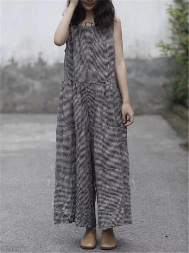 Loose Fit Sleeveless Plaid Wide Leg Cotton Linen Jumpsuit