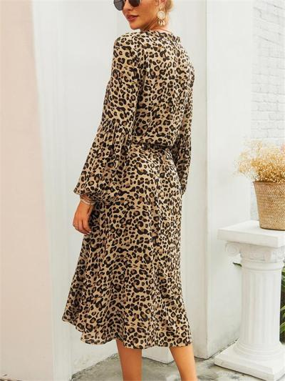 Trendy Stand Collar Elastic Cuff Leopard Button Waist Tie Dress