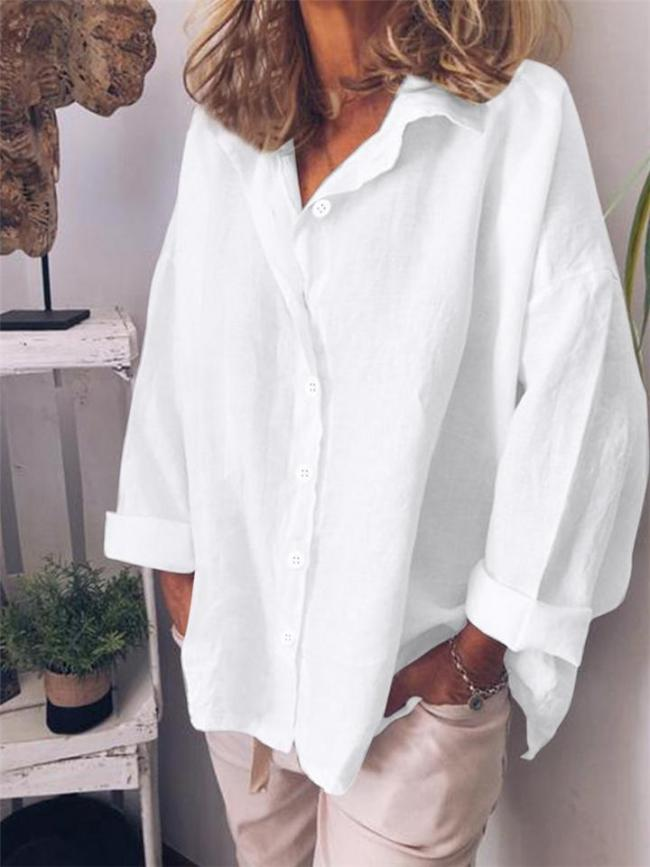 Loose Fit Lapel Collar Solid Color Button Up Blouse