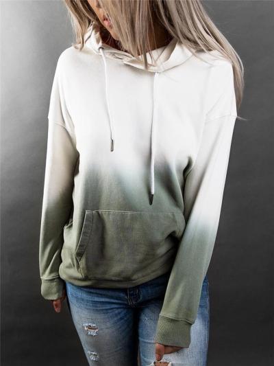 Casual Front Pocket Contrasting Long Sleeve Drawstring Hooded Sweatshirt
