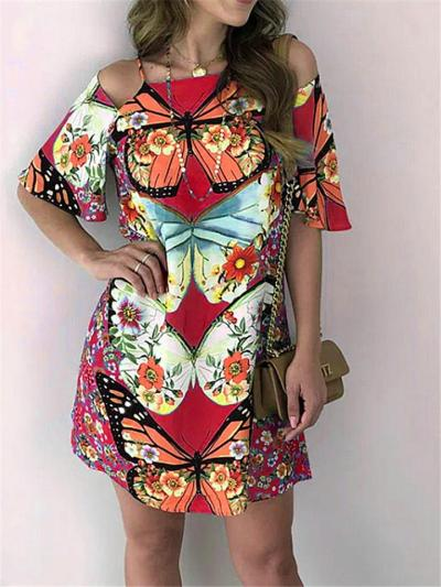 Fashionable Shoulder Cutout Butterfly Floral Open Back Mini Pullover Dress
