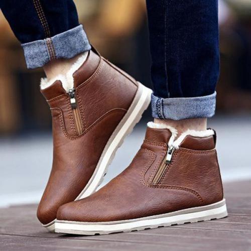 Men Cotton Waterproof Flat Snow Boots