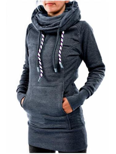 Slim Fit Front Pocket Drawstring Hooded Pullover Sweatshirt
