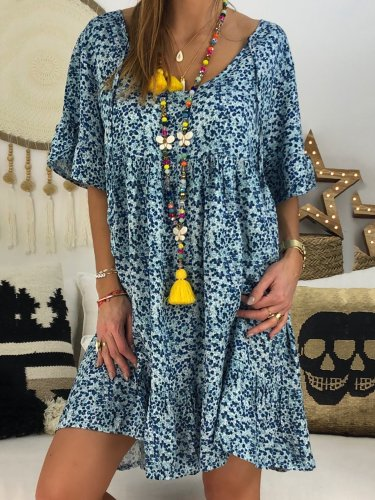 Chic Abstract Printed Short Sleeve Dress