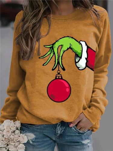 Christmas Printed Round Neck Long Sleeve Pullover Sweatshirt