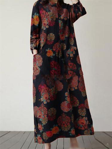 Vintage Floral Print Round Neck Pocket Long Dress
