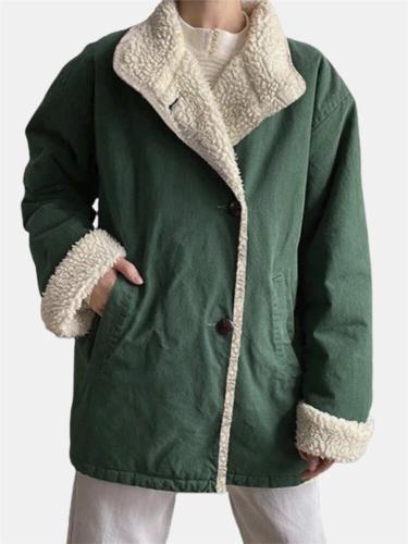 Fur Lining Solid Color Lapel Collar Button Up Fleece Pocket Coat