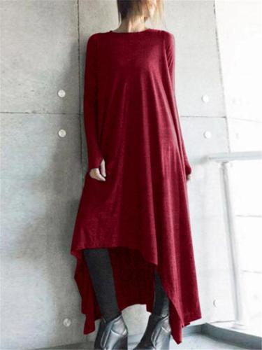 Casual Fit Round Neck Long Sleeve Asymmetric Hem Solid Maxi Dress