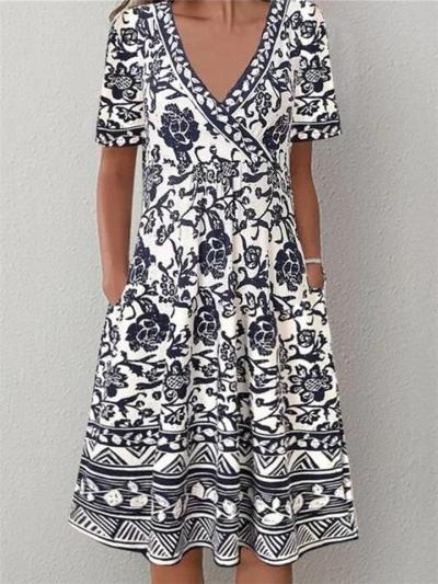 Trendy Wrap V Neck Floral Printed Short Sleeve Pocket Midi Dress