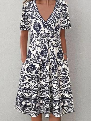 Trendy Wrap V Neck Floral Printed Short Sleeve Pocket Midi Dress