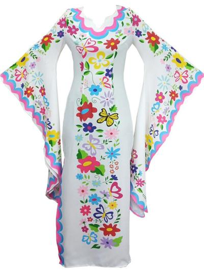 Bohemian Style V Neck Batwing Sleeve Floral Printed Maxi Dress