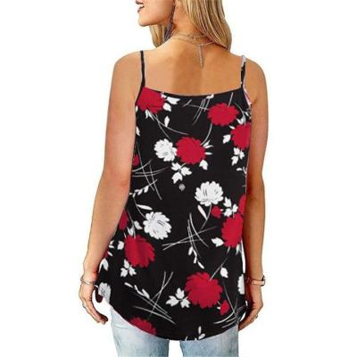 Relaxed Fit Scoop Neck Floral Printed Pleated Strappy Tank Tops