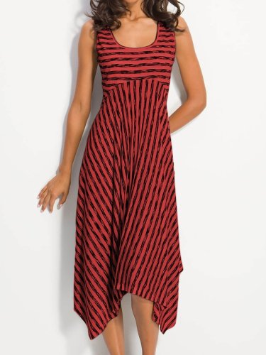 Women Midi Stripes Dresses A-Line Daily Cotton-Blend Printed Dress