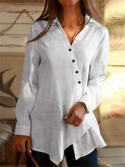 Casual Style Asymmetric Design Button Up Long Sleeve Base Layer Tops