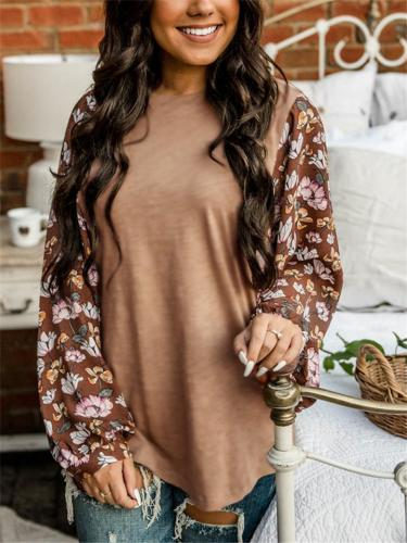 Relaxed Fit Round Neck Floral Pattern Long Sleeve Pullover Tops