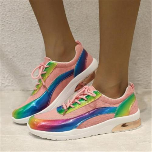 Women Multicolor Breathable MeshLace-up Sneakers