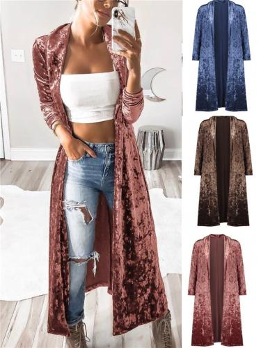Women's Stylish Velvet Solid Color Long Outerwear