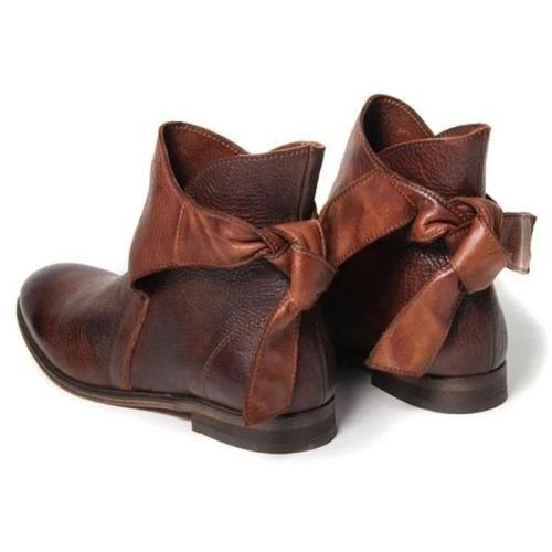 Comfortable Back Bowknot Low Heel Side Zipper Waterproof Boots