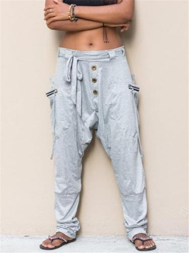 Casual Style Drop Crotch Waist Tie Side Pocket Solid Color Pants